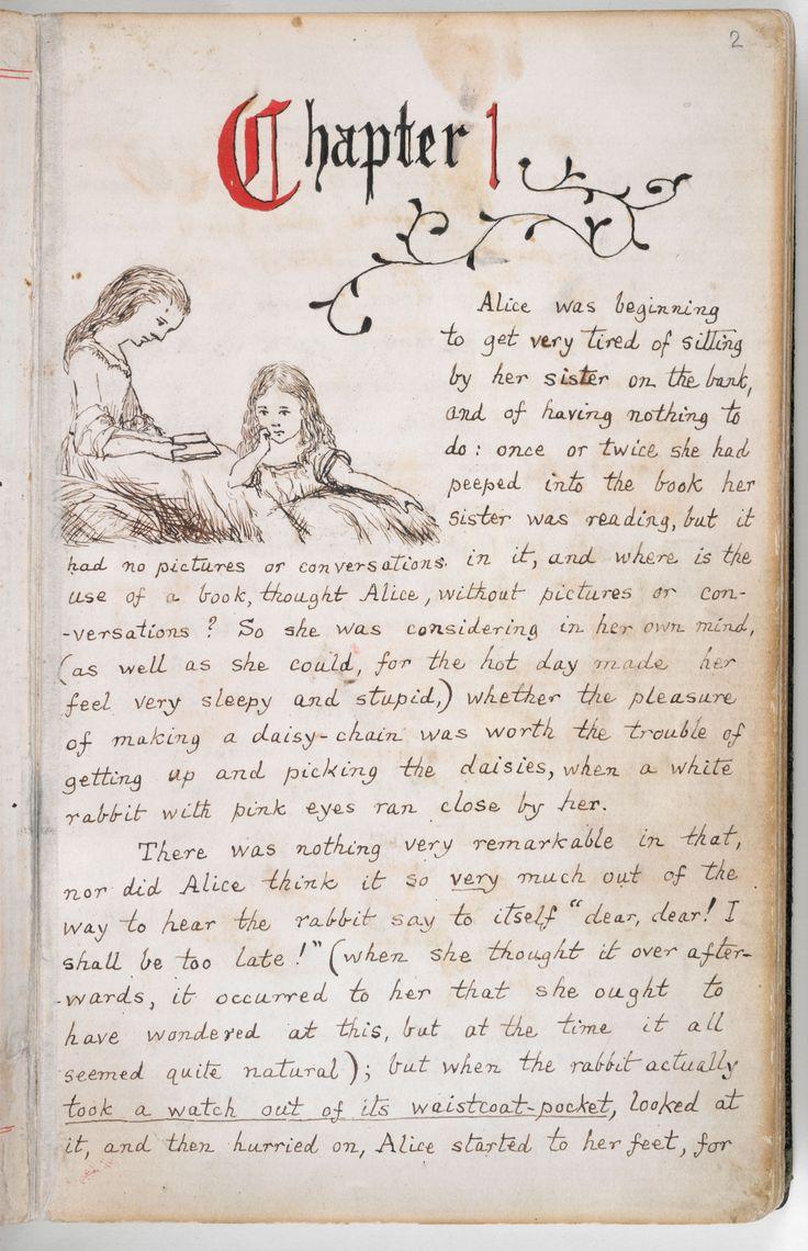 'Alice's Adventures Under Ground', the original manuscript version of Alice's Adventures in Wonderland' #AliceinWonderland