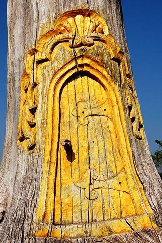 yellow magical tree door