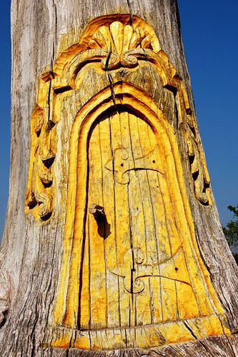 carved magical tree door I love :)