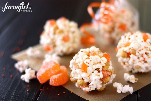 marshmallow popcorn balls, a fun Halloween treat - from a farmgirl's dabbles