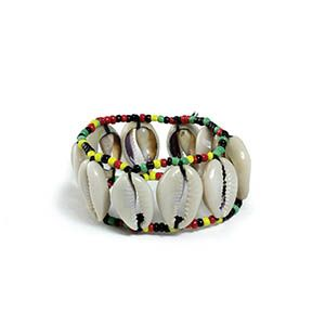Cowrie shells are an African symbol of fertility and sensuality. Over a dozen of these are meticulously hand strung onto beaded bands at a price that anyone can still afford easily. Elastic band fits any size wrist.