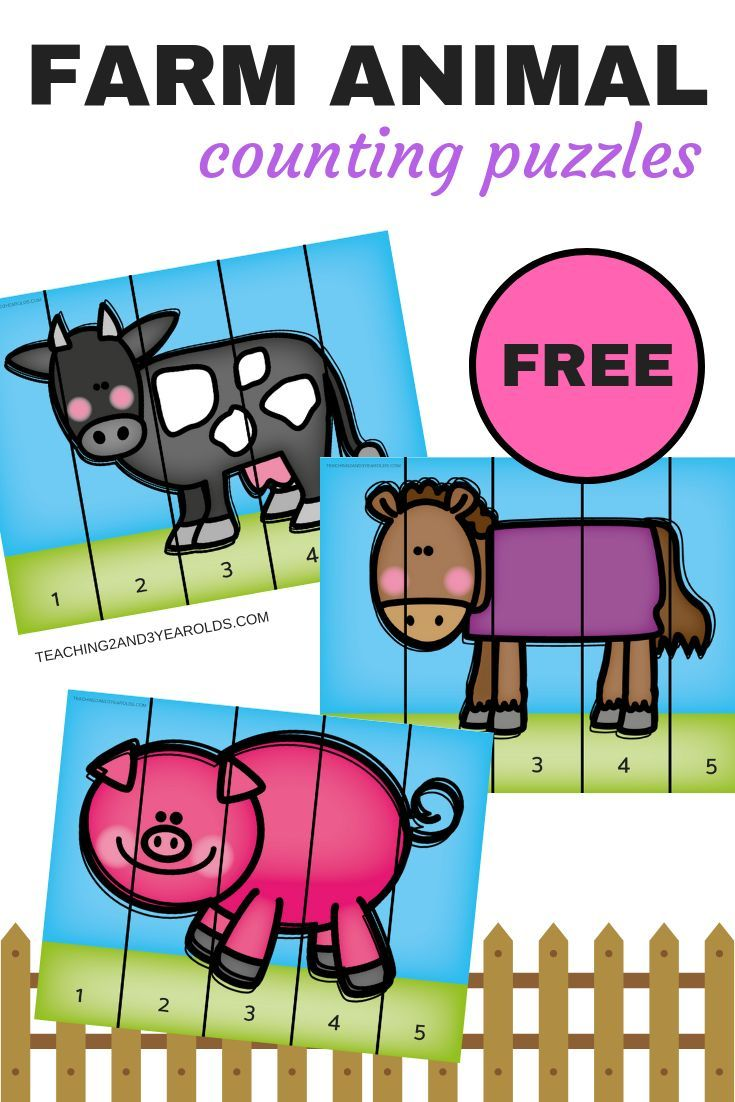 Free Farm Animal Counting Puzzles Cow Horse Pig For Toddlers And Preschoolers Perf Farm Activities Preschool Farm Animals Preschool Farm Theme Preschool