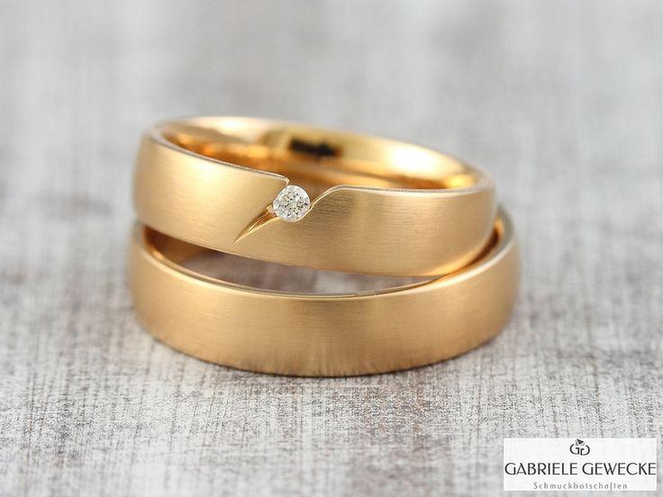 Eheringe - Eheringe mit Diamant, 5mm, 585 Rosègold, Mod.3301 - ein Designerstück von Schmuckbotschaften bei DaWanda