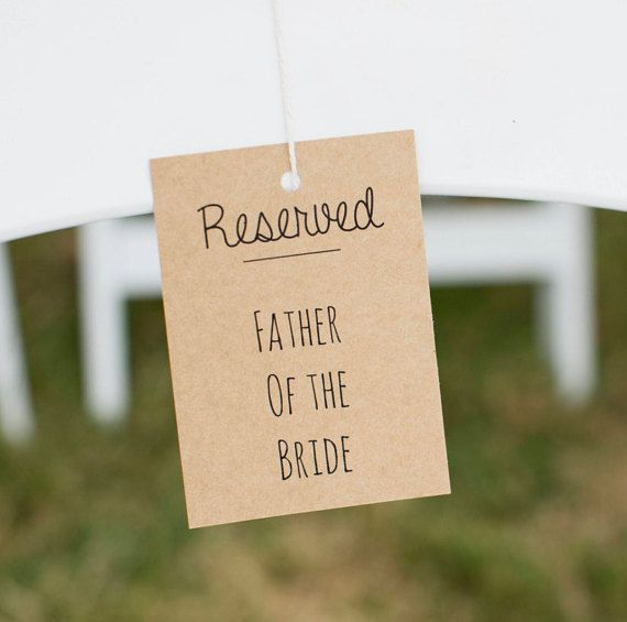 Reserved Chair Signs, Wedding Reserved Signs, Reserved Tags, Rustic Chic Typographic Brown Kraft Card Stock for Wedding Ceremony & Reception