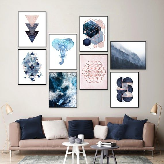 Gallery Wall Set Of 8 Downloadable Prints Blush Pink Navy Etsy Wall Decor Bedroom Gallery Wall Canvas Wall Art Set