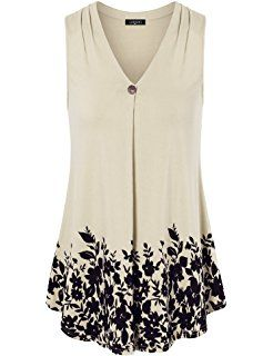 5d21b32e1cf Laksmi Womens Sleeveless Pleated V Neck A Line Floral Printed Casual Flow  Summer Tunic Tops