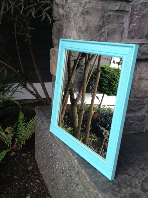 Large turquoise square wall mirror wall decor bedroom for Big square wall mirror