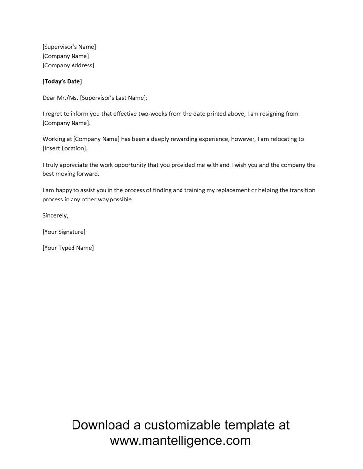2 Week Notice Letter Two Weeks Resignation Template For Work Sample