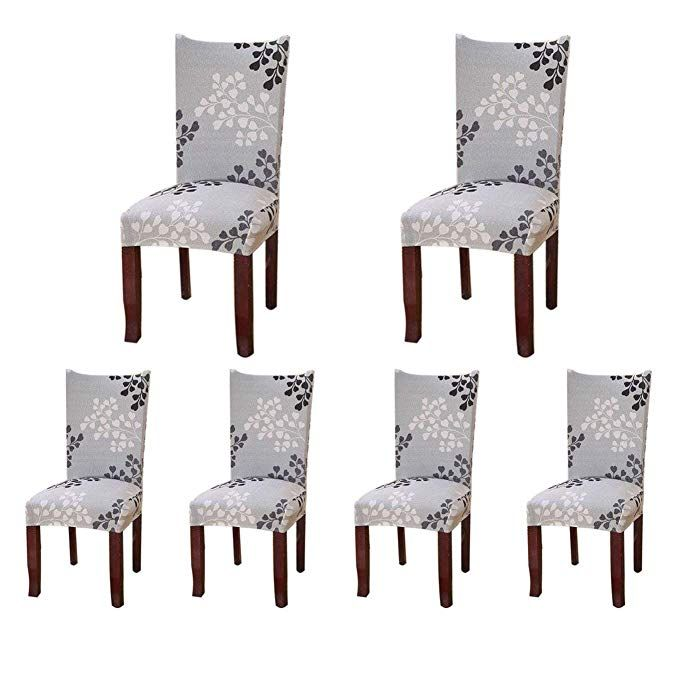Amazon Com Soulfeel Stretch Spandex Dining Room Chair Protector Slipcovers Set Of 6 Style 44 Dinning Room Chairs Dining Room Chair Covers Dining Room Chairs