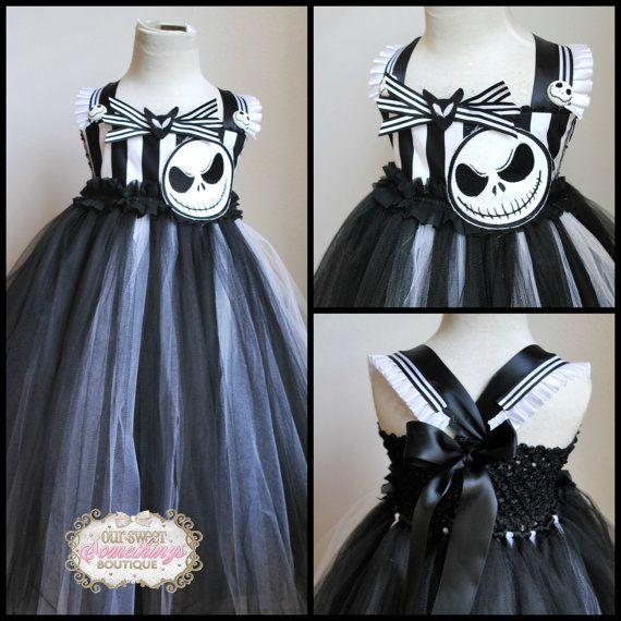 Jack Skellington Skeleton Inspired Nightmare Before Christmas Tulle Tutu Dress Costume Infant to Girls on Etsy, $60.00