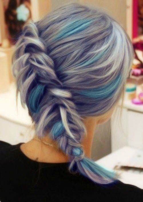 grey hair with blue highlights. I think the grey is sooo cool O: