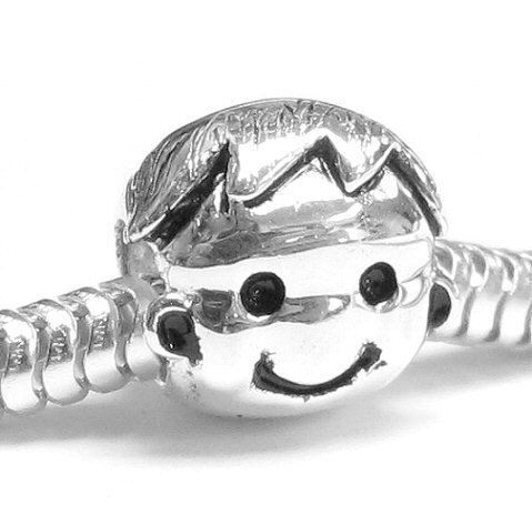 Sterling Silver Happy Cute Mom's Baby Boy Kid Bead Charm For Pandora Charm European Bracelet Jewelry