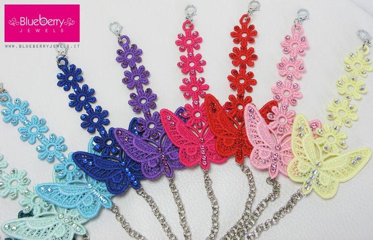 """I nostri braccialetti in macramè """"Butterfly"""" in mille colori!!! http://www.blueberryjewelstore.com"""