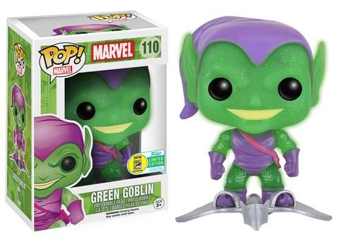 Funko announcing their 2016 SDCC exclusives wave one: Translucent Glitter Green Goblin with Glider