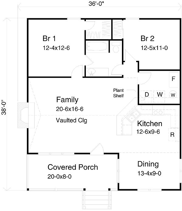 36 x 36Move wall out on living room, move dining room to where porch is, put door in laundry room. Face living room/dining room and bedroom to the north and make a small entry. Make kitchen larger, extend it into the current dining room. Dining and kitchen would be toward west.