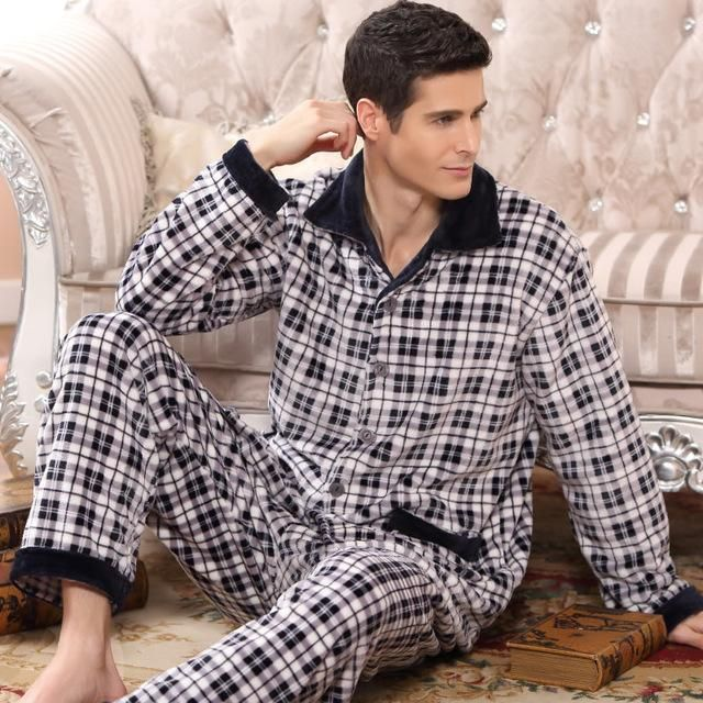 Men Winter Thick Warm Pajamas Suits Flannel Pajama Clothing Men Sleeping Nights Night Clothes for Men