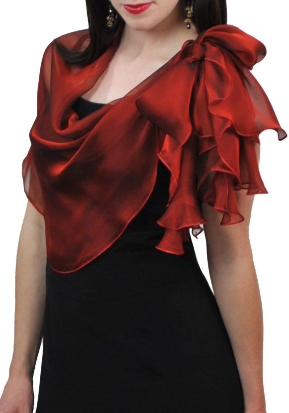 Lipstick Red Silk Scarf $49  This is a beautiful sheer silk scarf wrap shawl. Lipstick Red color is sensual and hot, deep red with more dark shade, still elegant and classy. Shimmering iridescent chiffon evening scarf wrap perfect for the holidays, weddings or proms!