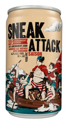 Sneak Attack brew in a can - farmhouse saison brewed with organic cardamom pods by 21st Amendment brewery