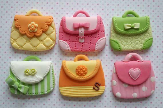 12 Lady Purse Cupcake Toppers for Tea Party, Girl's Birthday and Bridal Shower
