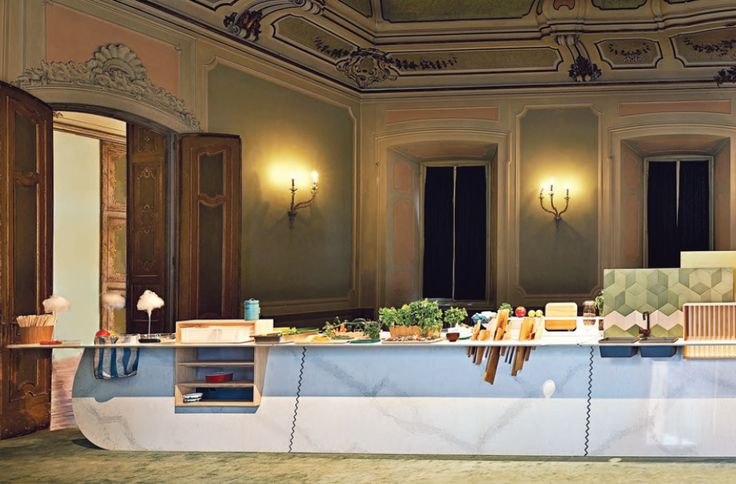 The Island instillation has the concept of a basic kitchen but components are placed within the interior environment rather than on the surface.