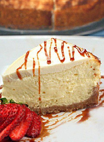 Three Cream Cheesecake.  A slice of creamy, fluffy heaven.
