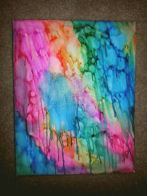 Isopropyl Alcohol and sharpies canvas art. Drip colour. Rainbow. Abstract.