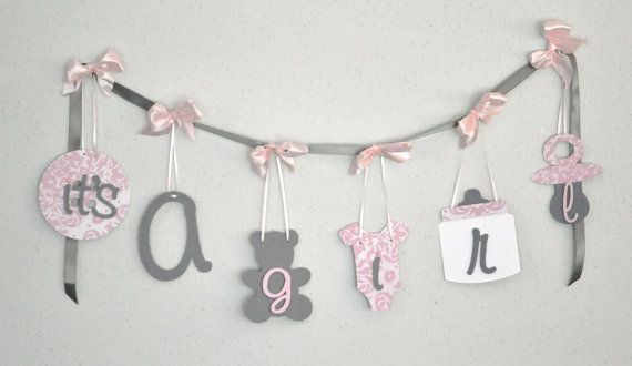 Pink and grey baby shower decorations it's a girl by ParkersPrints, $20.00