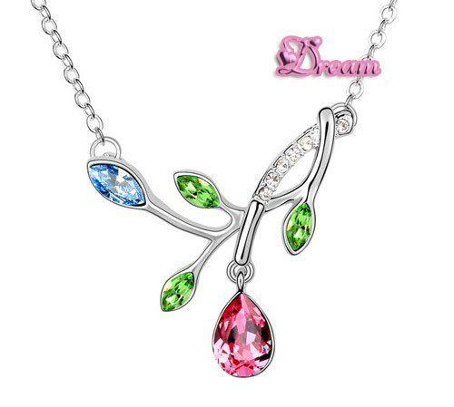 Spedizione gratuita sacchetto del regalo, hotselling classico cristallo collana pendente fiore abito da sposa/partito regalo/insieme dei monili, 5948q