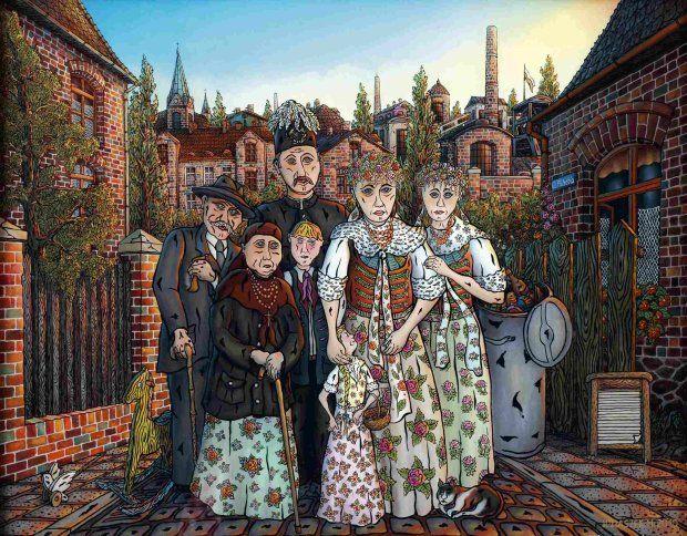 """Marek Idziaszek, """"Rodzina Budnikow"""" """"Budniok Family"""" oil painting on glass"""