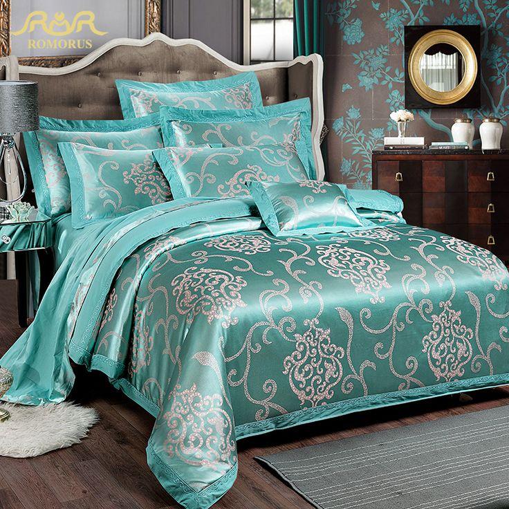 Romorus 2016 nieuwe luxe 100 % katoen jacquard satijn turquoise bruiloft beddengoed sets 4 stuks king queen size dekbedovertrek beddengoed set in                                                                                                                    van beddengoed sets op AliExpress.com | Alibaba Groep