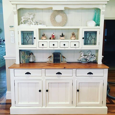 Buffet and hutch after. Chalk paint, Annie Sloan Old White, French Provincial, Hamptons, Shabby chic, coastal style. Painted by Endora's Attic