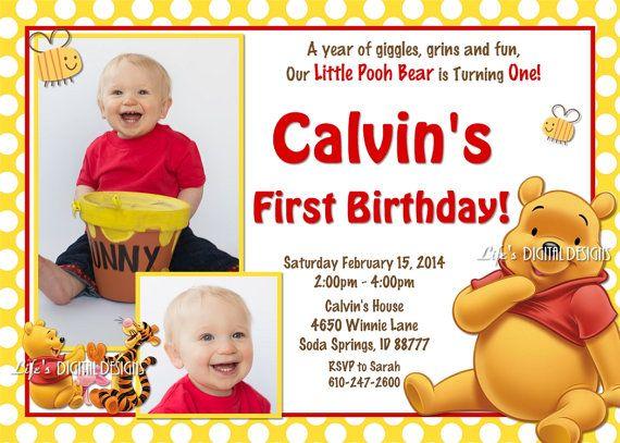 Winnie the Pooh Birthday Invitation Yellow Polka Dots by LifesDigitalDesigns • $14.00