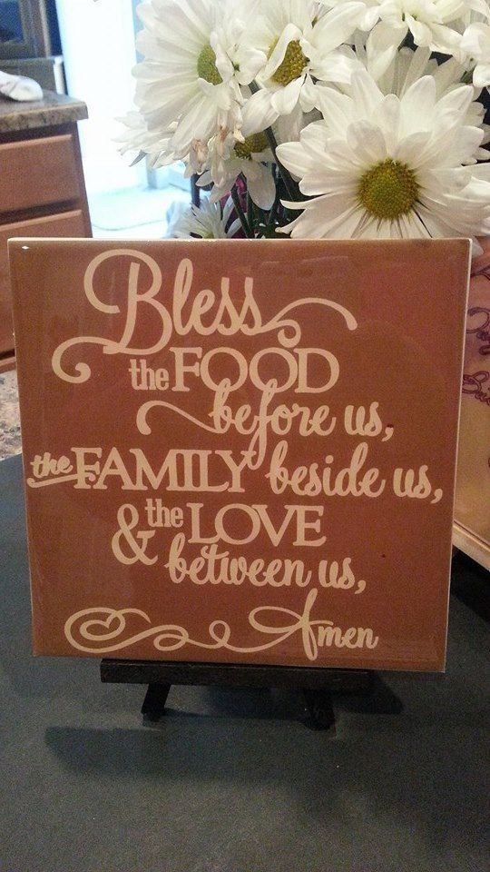 Kitchen Decoration Tile / Bless This Food Sign By NolaGirlDesign
