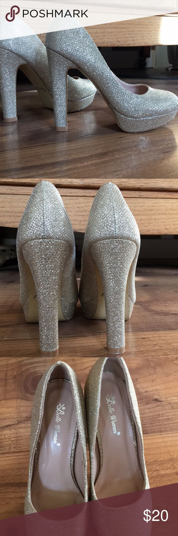 """Sparkly Gold Pumps Very sparkly pumps. Worn once to a wedding for 2 hours tops. 4"""" heel with 1"""" platform. Belle Women Shoes Heels"""