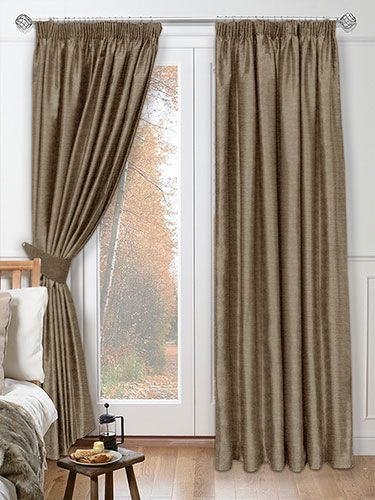 Chenille Silver Mink Curtains - the plush look of this curtain will suit a room that needs a cosy yet lightly coloured look at the window. Whether you prefer a curtain track or curtain pole we have a heading to suit, remember that a pencil pleat heading looks just as good on either system. #curtains #chenille