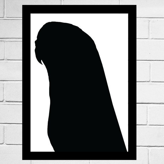 Regal Budgie print silhouette pet silhouette art by watchthebirds