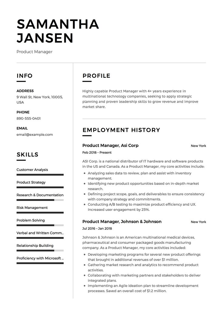 it project manager resume page template mac