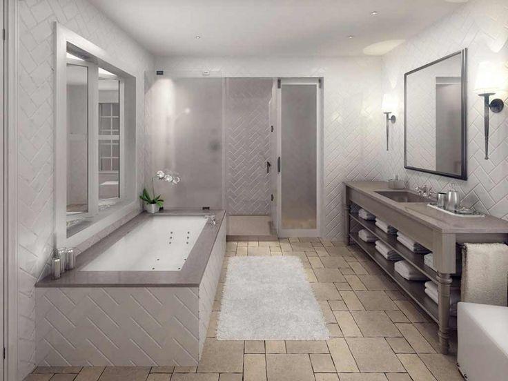 Bathroom, Glowing Herringbone Bathroom Natural Stone Tile Ideas: Design Of Natural  Stone For Bathroom