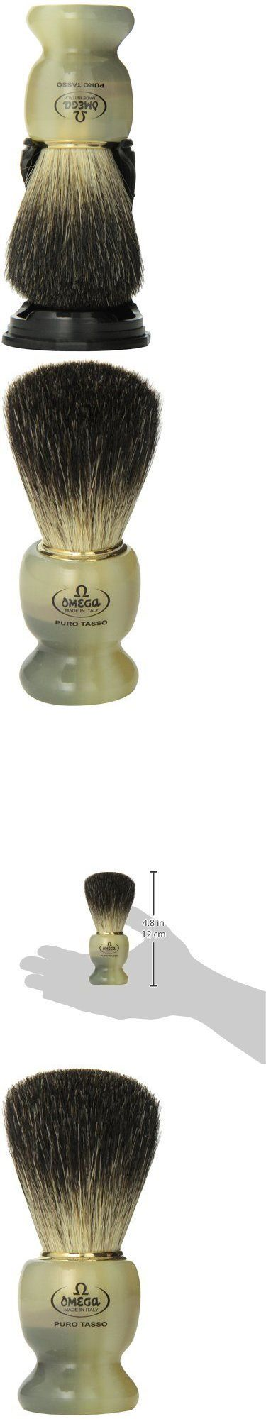 Shaving Brushes and Mugs: Omega 63171 Stripey 100% Pure Badger Shaving Brush With Stand BUY IT NOW ONLY: $36.6