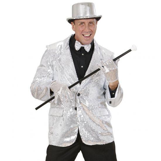 Zilveren glitter jassen  Colbert pailletten zilver voor heren. Deze luxe glitter colbert met zilveren pailletten heeft twee zakken en is gemaakt van katoen en polyester. Deze zilveren glitter colbert maakt uw feest outfit compleet!  EUR 74.95  Meer informatie