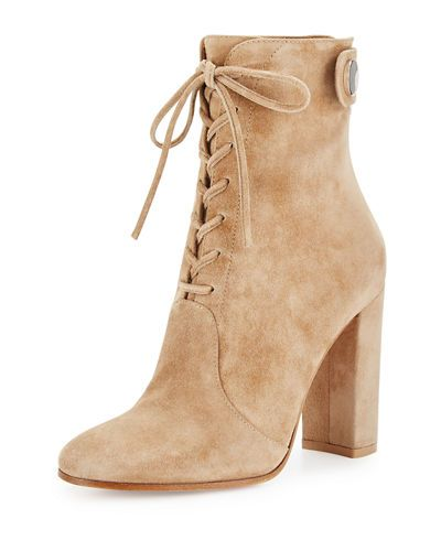 S0EK9 Gianvito Rossi Suede Lace-Up Ankle Boot, Black