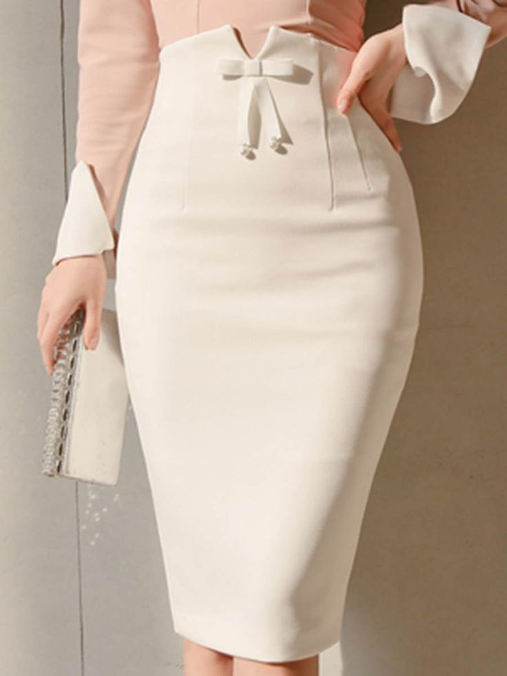 white pencil skirt with bow front detail