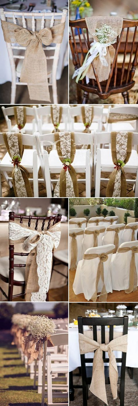 burlap weddiong chair decor ideas for rustic and vintage weddings