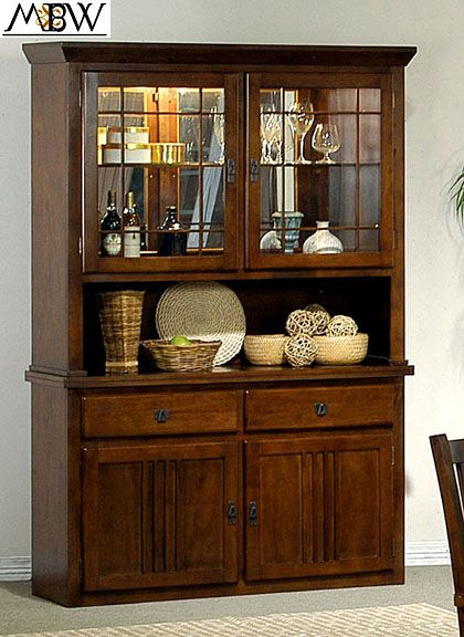 Details About Rich Dark Oak 2 Drawer Buffet Hutch China Cabinet