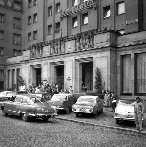 Front view of the hotel entrance, looks like late 1960s