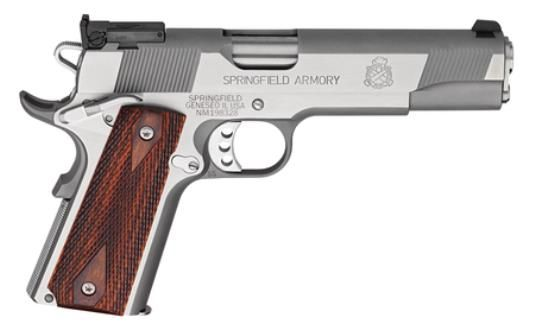 """Springfield 1911 Service Target Pistol 45 ACP, 5"""", Cocobolo Wood Grip, Stainless Finish, 7 Rd"""
