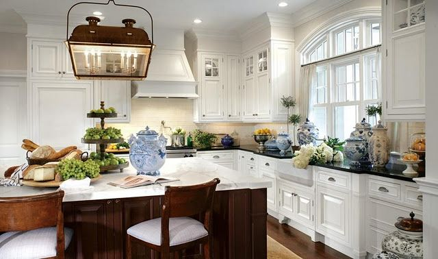 LOVE this kitchen! Especially love the big rounded window and dark counter tops with the white cabinets! Then there is the opposite color effect on the island. I just love EVERYTHING.Kitchens Windows, Dreams Kitchens, Lights Fixtures,  Eating Places,  Eating House'S, White Kitchens Cabinets, Kitchens Ideas,  Eatery, White Cabinets