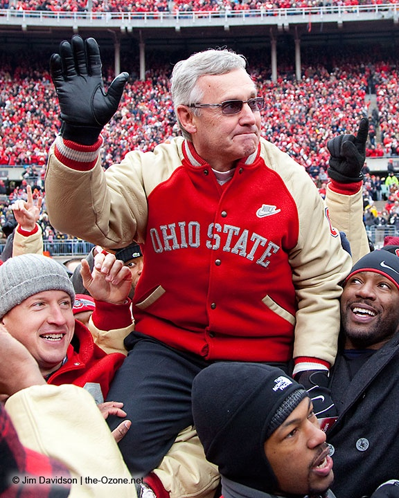 Jim Tressel and the national champion 2002 Buckeye football team was honored between the first and second quarters. Photo by Jim Davidson of TheOzone.net.