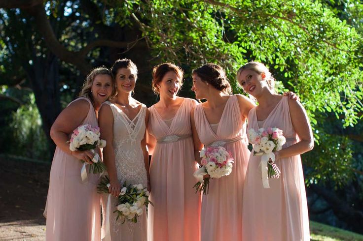 ViCTOR Bridesmaid - Style DONNA Pale Ballet Pink Grecian style Dress with Embellished Belt