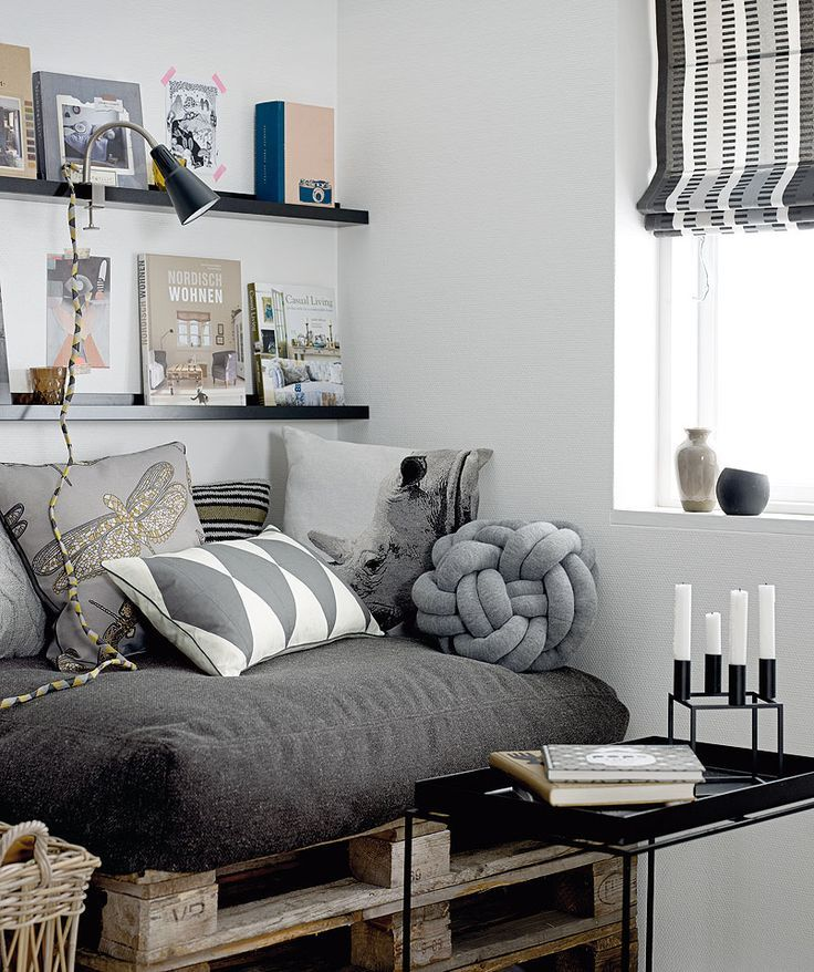 White and Grey Living Room with Knot Pillow
